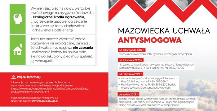 Informacja dotycząca uchwały antysmogowej dla Mazowsza